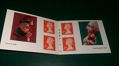 GB QE2 2001 Barcode Booklet 6 x 1st Class Self Adhesive Stamps Punch and Judy