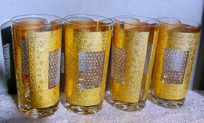 "4 Vtg Pasinski MCM 22k Textured Gold KASHMIR Window Glasses 5½"" Tumblers Exc"