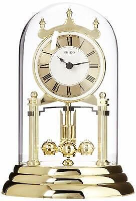 Seiko QHN006GLH Anniversary Mantel Clock with Glass Dome and Rotating Pendulum