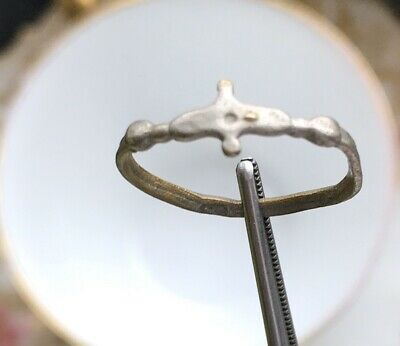 Ancient Byzantine Silver Cross Ring 550-650 AD With COA From Jerusalem, Israel