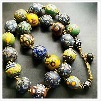 Old wonderful Islamic Roman Glass Mosaic beads Lovely Necklace  # 104
