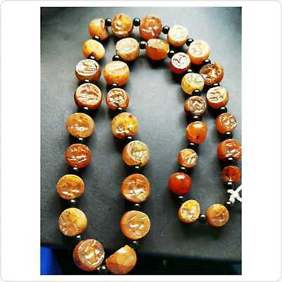 SALE 35 pcs ! Ancient Agate mixed intaglio Seals Beads Strand Necklace   # 104