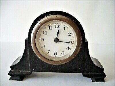 A Vintage Ebony Cased Miniature Mechanical Mantle Clock - For Spares Or Repairs