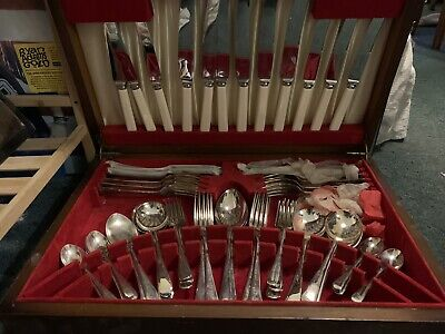 Unused Silver Cutlery Set SHEFFIELD Complete 62 pc OLD ENGLISH Vintage Antique