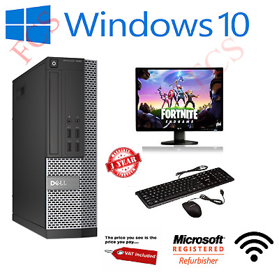 Fast Gaming PC Computer SET Monitor Quad Core i5 16GB 1TB Win 10 2GB GT710 DELL