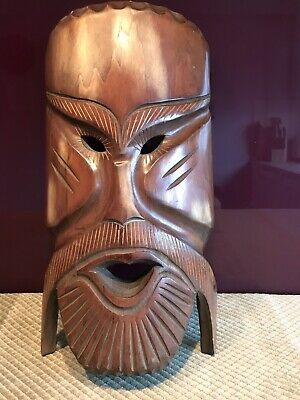 Fair Trade 50cm Tribal /'Long/' Mask Hand Carved Indigenous Borneo Wooden Mask