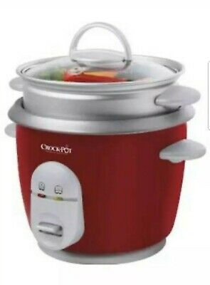 Crock-Pot CKCPRC4725 0.6L Rice Cooker with Veg Steamer Tray - Red.