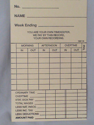 200 x Weekly Clocking in Time Cards type 102115