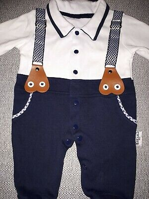 Boys 0 - 3 Months Outfit Braces Top Trousers All In One Babygrow Navy White NEW
