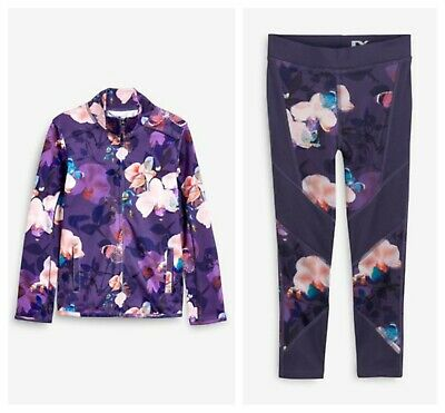 Next Girls Sports Jacket & Leggings Purple Floral  Age 7 Years Gym BNWT