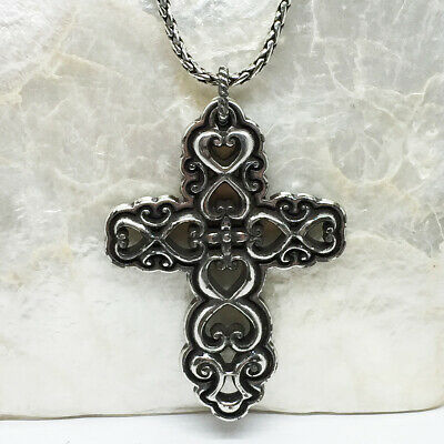 Brighton Large Silver Tone Ornate Antiqued Cross Pendant Necklace