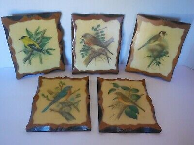 Vintage Set 5 Ph Gommer BIRD lovers Prints Wood Decoupage Plaques Art Picture