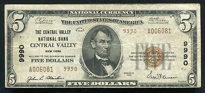 1929 $5 Tyii The Central Valley National Bank Of Central Valley, Ny Ch. #9990