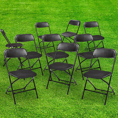 Black 10PCS  Plastic Folding Chairs Stackable  Wedding Party Event Commercial