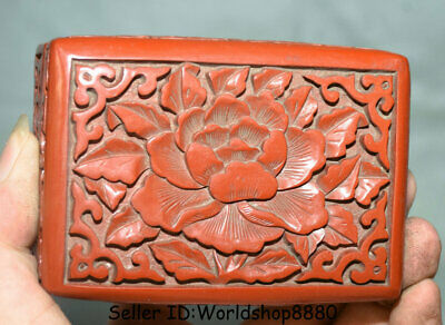 "4.4"" Antique Old Chinese Red Lacquerware Dynasty Palace Flower Jewelry box Boxes"