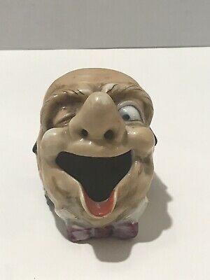 Vintage Laughing Old Man Potty Mouth Ashtray Hand-Painted Japan