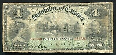 Dc-16 1900 $4 Four Dollars Dominion Of Canada Banknote Fine