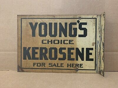 Vintage Youngs Choice Kerosene Flange Sign Double Sided Metal Gas Oil Garage