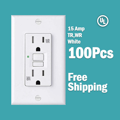(100 Pcs) 15 AMP GFCI White Receptacle Outlet -TR & WR SELF TEST 2015 UL