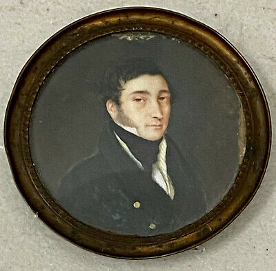 Late 19th Century Portrait Miniature of a Young French Man