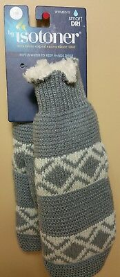 By isotoner Women Gray New Sherpa lining Smart dri mittens One Size (#c3