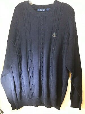 Izod Mens Navy Blue Cable Knit Cotton Pullover Sweater Size Large Logo Crew Neck