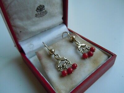 Faberge Antique Imperial Russian GOLD 56  Earrings  + Box 19th century!!!