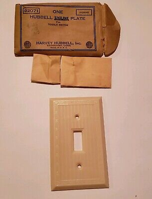 Antique Victorian New In Package Bakelite Hubble Uniline Light Switch Cover