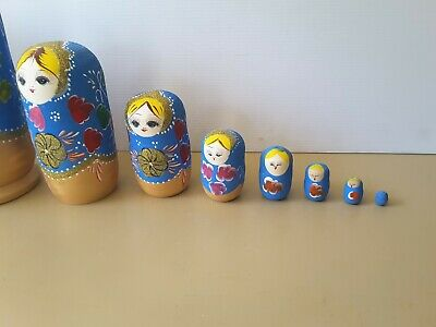 8 Pcs set Wooden Dolls Russian Nesting Babushka Matryoshka Hand Painted Toys
