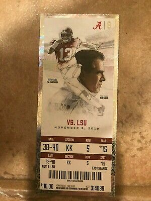 2019 National Champions LSU vs Alabama Ticket Unused