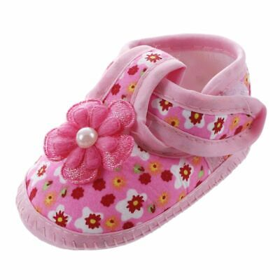 10X(1 pair Soft Baby Chaussure Infant Girls Flower Printed Cloth Boots Crib I5H9