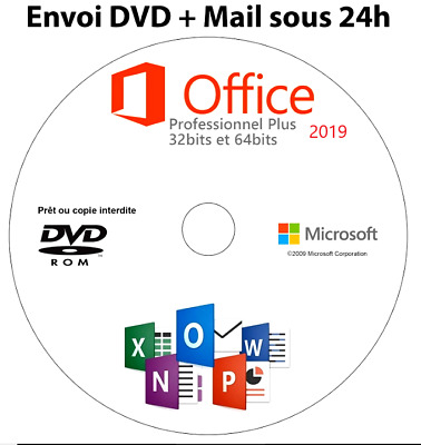 Microsoft® Office 2019 Pro Professional Plus DVD📀 Offert licence Retail👍✔✔✔