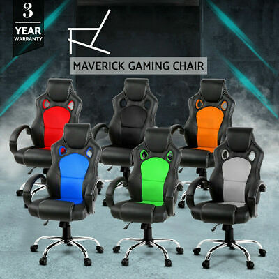 Gaming Chair Office Computer Leather Chairs Racer Executive Seat Mesh AU