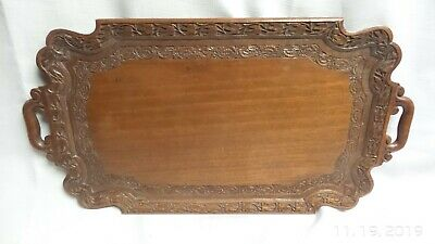 Beautifully detailed ANTIQUE SANDOLIN Anglo Indian Tray C 1930