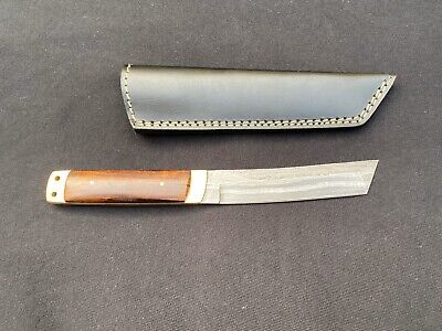 Hand Forged Damascus Steel Tanto Knife With /Leather Sheath