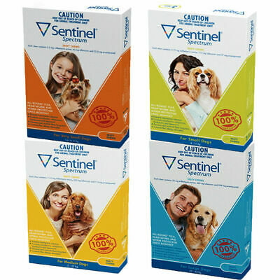 Sentinel Spectrum for Dogs 3 or 6 Doses All Sizes Flea Heartworm Worm Treatment