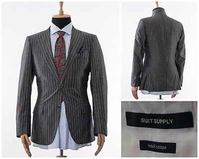Mens SUITSUPPLY Blazer Coat Jacket Wool Two Button Striped Grey Size 40 M 50
