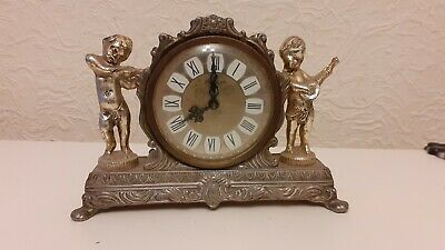 VINTAGE METAL WEST GERMAN SPLENDEX WIND-UP CHERUB CLOCK, Working