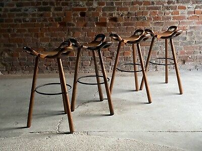 Brutalist Marbella Bar Stools Solid Oak Set of Four By Conoform Spain 1970s