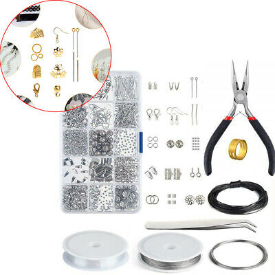 Jewelry Making Kit Begininers Starter Boxed Beads Findings Lobster Clasps Wires