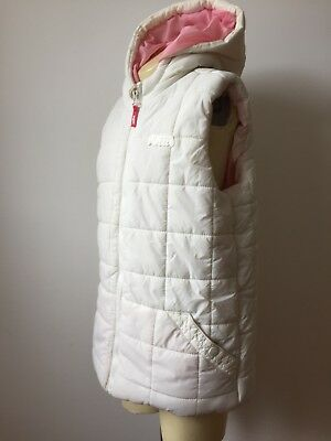 Girls Hooded White Winter Puffa Jacket/Gilet Quilted. Sleeveless Coat Age 12-13