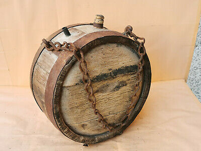Antique Primitive Old Wooden Vessel Canteen Keg Barrel - Iron Banded