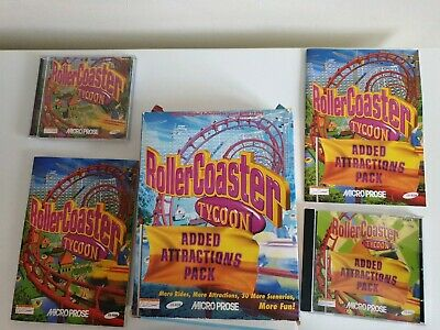 RollerCoaster Tycoon + Added Attractions Pack BIG BOX good condition