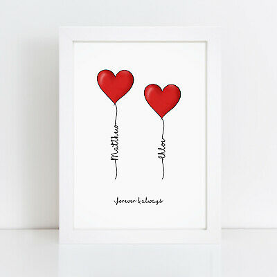 Personalised Love Heart Print Valentines Couples Gifts For Her Girlfriend Wife