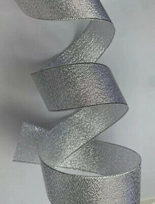 1 Metre 30mm Silver Sparkly Organza Ribbon Wedding Cake Baby Shower Christmas