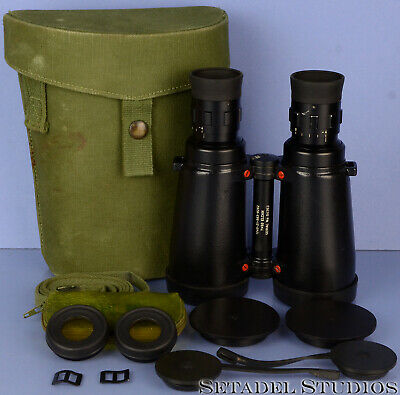 Leica Leitz Elcan 7X50 Military Nato Binoculars +Case +Filters +Caps Near Mint!