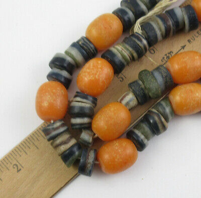 Antique African Faux Amber & Glass Trade Bead Necklace