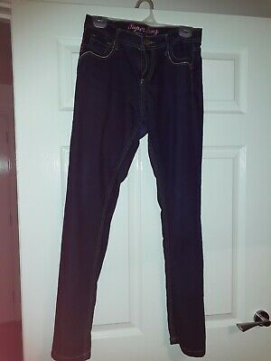 Denim Co SIZE 12  SKINNY INDIGO BLUE JEANS WITH BEIGE STITCH DETAIL