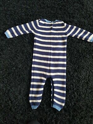 Next Baby Boys knitted romper 18-24 months all in one sleepsuit navy