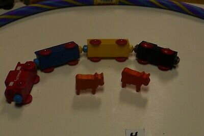 wooden train set trains cute cattle car pieces compatible Brio Doug Thomas etc.